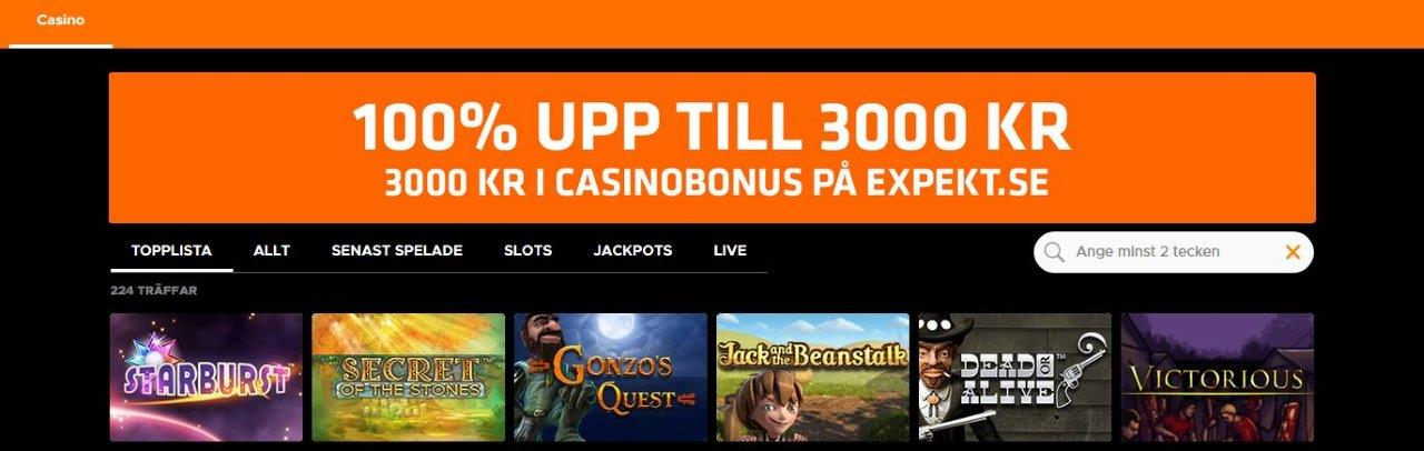 Expekt casino bonus support och odds