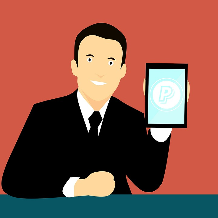 Vector image of man holding a phone with paypal logo