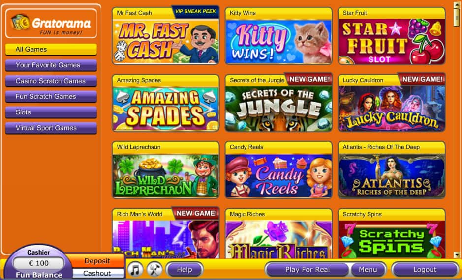 Дизайн онлайн-казино Gratorama