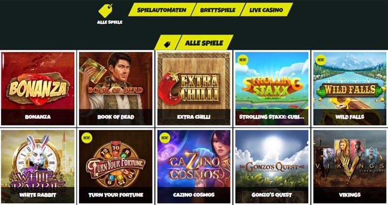 Prank-Casino-Spieleauswahl