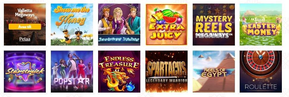 karjala casino game selection on suomi homepage
