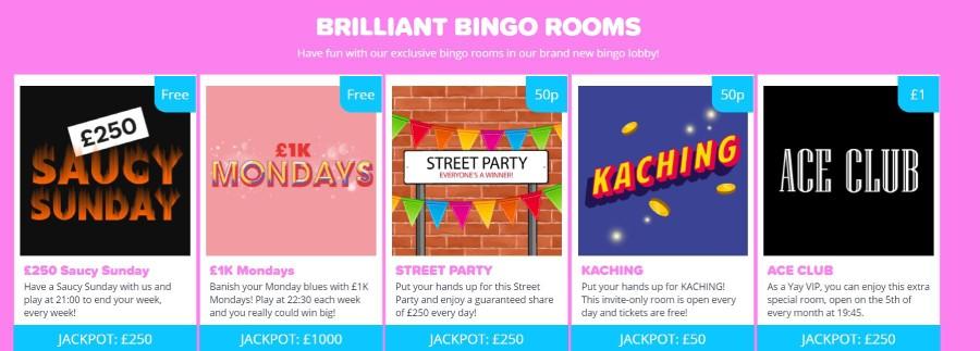 Bingo rooms at YAY bingo