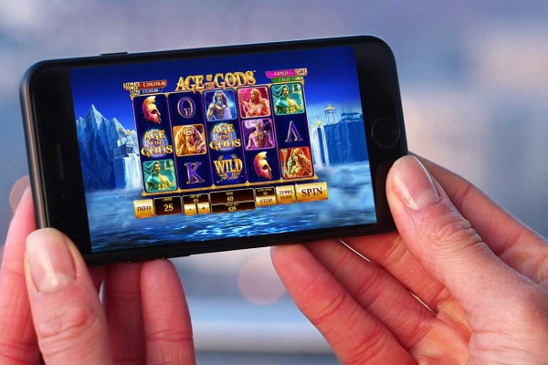 Age of the Gods played on a mobile phone