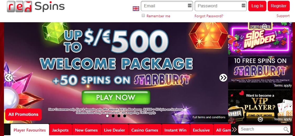 red spins welcome offer