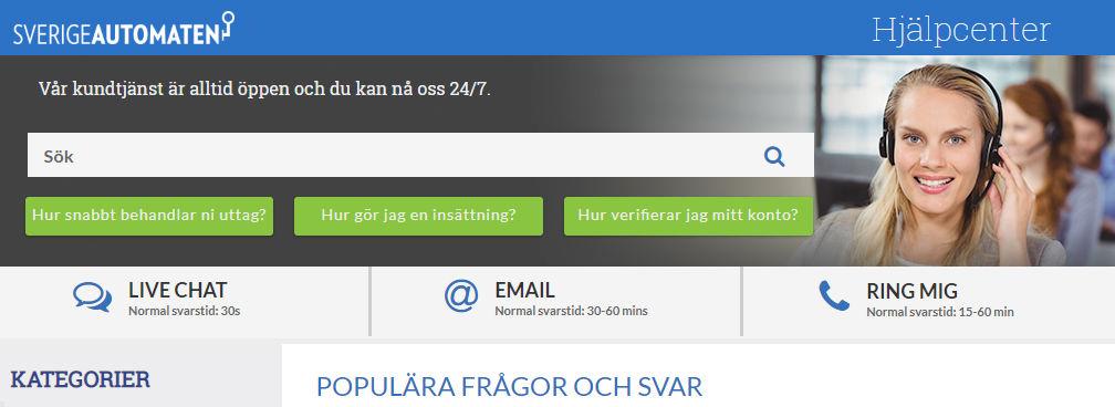 SverigeAutomaten Logga In och Kundtjänst