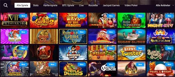 Wildblaster Casino Spieleauswahl