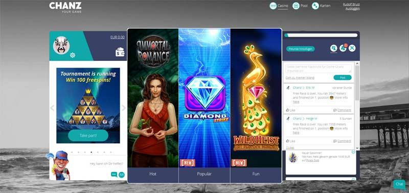 Chanz-Casino-Kundenbereich
