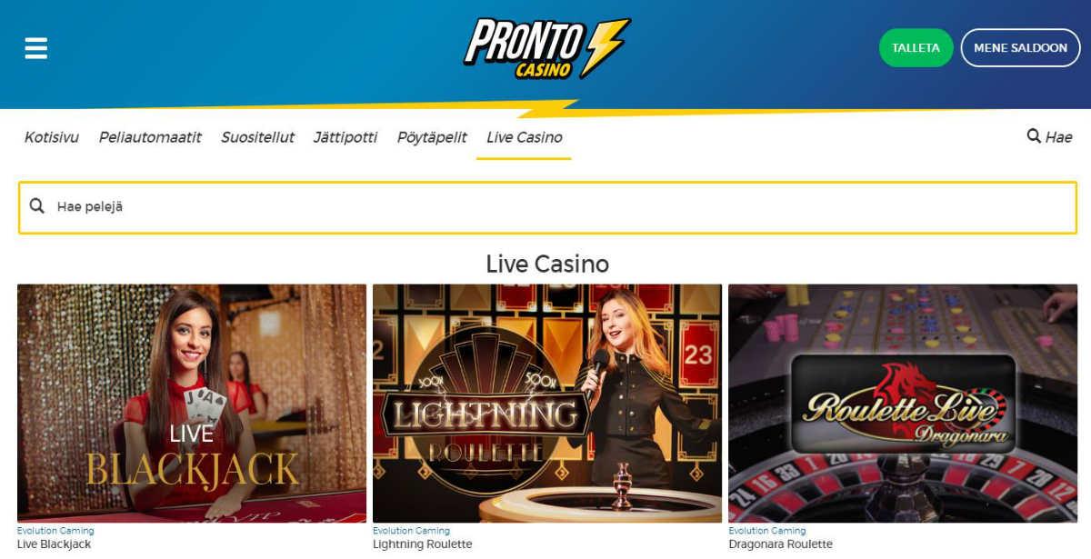 pronto live casino pelaa ilmaiskeksi