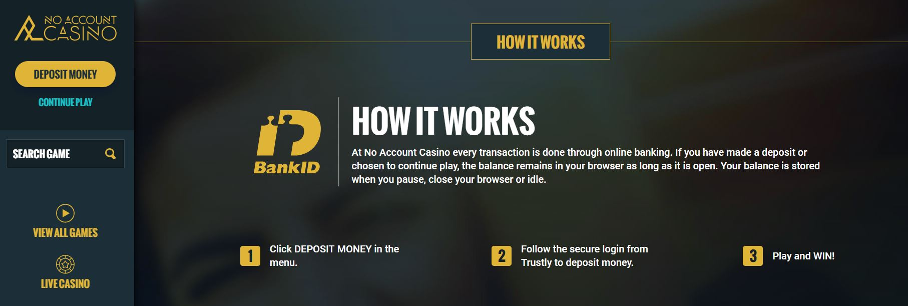 pay and play - no account casino