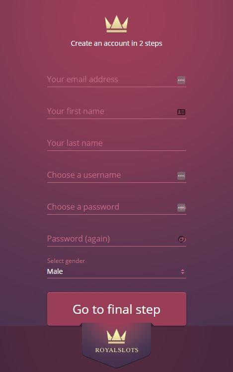 RoyalSlots Create an account window