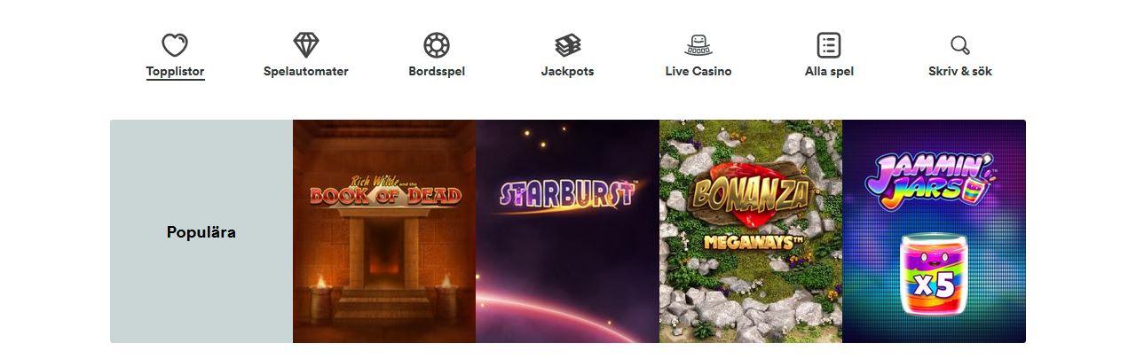 casumo casino spel och bonusar med alla speltyper