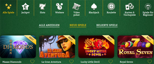 OnlineCasino-Deutschland-Spieleauswahl