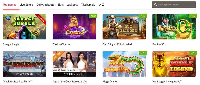 Mansion-Casino-Spieleauswahl